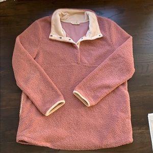 Entro Dusty Rose & Cream Texture Fleece Pullover L